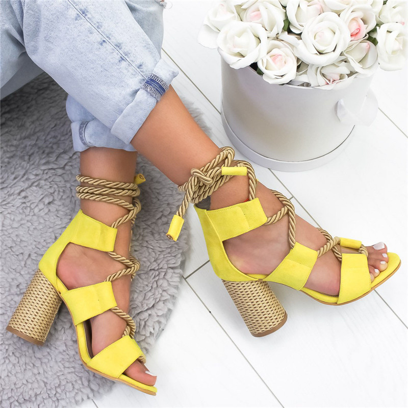 LOOZYKIT 2019 Summer  Espadrilles Women Sandals Heel Pointed Fish Mouth Gladiator Sandals Hemp Rope Lace Up Platform Sandal high heels
