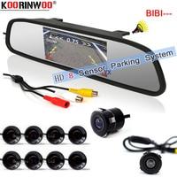 Koorinwou Parktronic HD CPU Sensor de aparcamiento de coche 8 zumbador frontal de coche cámara de visión trasera Monitor de espejo círculo Detector reverso 12 V
