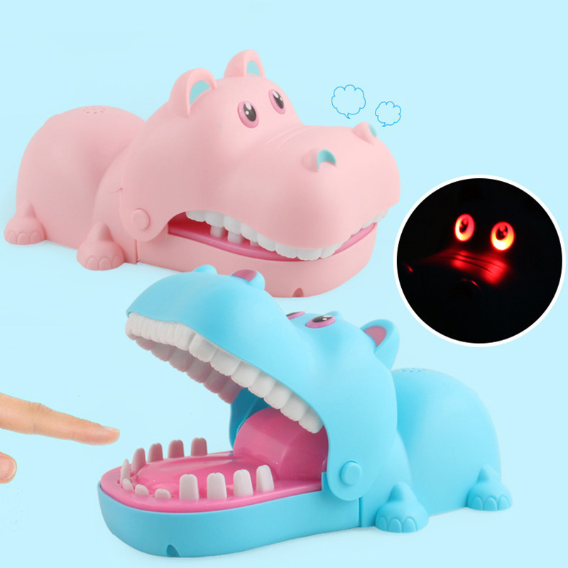Blue Zerodis Finger Biting Toys,Cute Cartoon Hippo Mouth Pressing Teeth Relieve The Pressure Toy Party Daring Challenge Game Funny Toy for Adults Kids