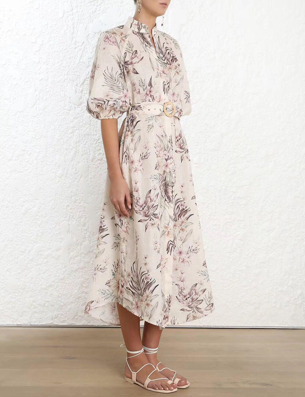 Été 2019 nouveau Design australien lin ceinture à manches bulles robe irrégulière