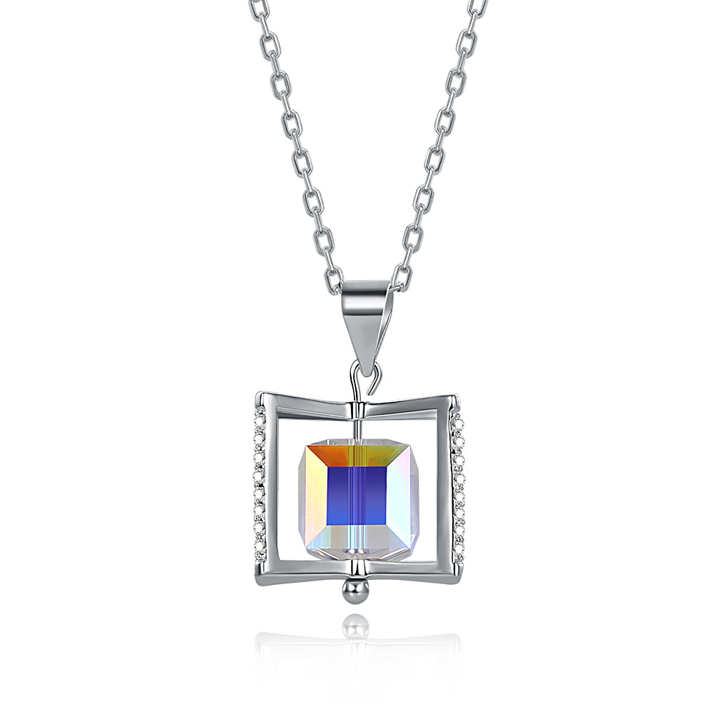 925 sterling silver uses Austria crystal cube necklace for women S925 necklace Christmas female gift925 sterling silver uses Austria crystal cube necklace for women S925 necklace Christmas female gift