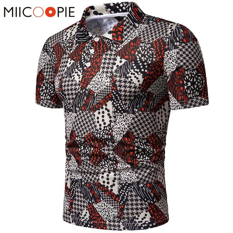 Fashion Men's   Polo   Shirt Dot Geometric Stitching Printed Causal Men Short-sleeved   Polo   Homme Top Mens Clothing Summer Shirt