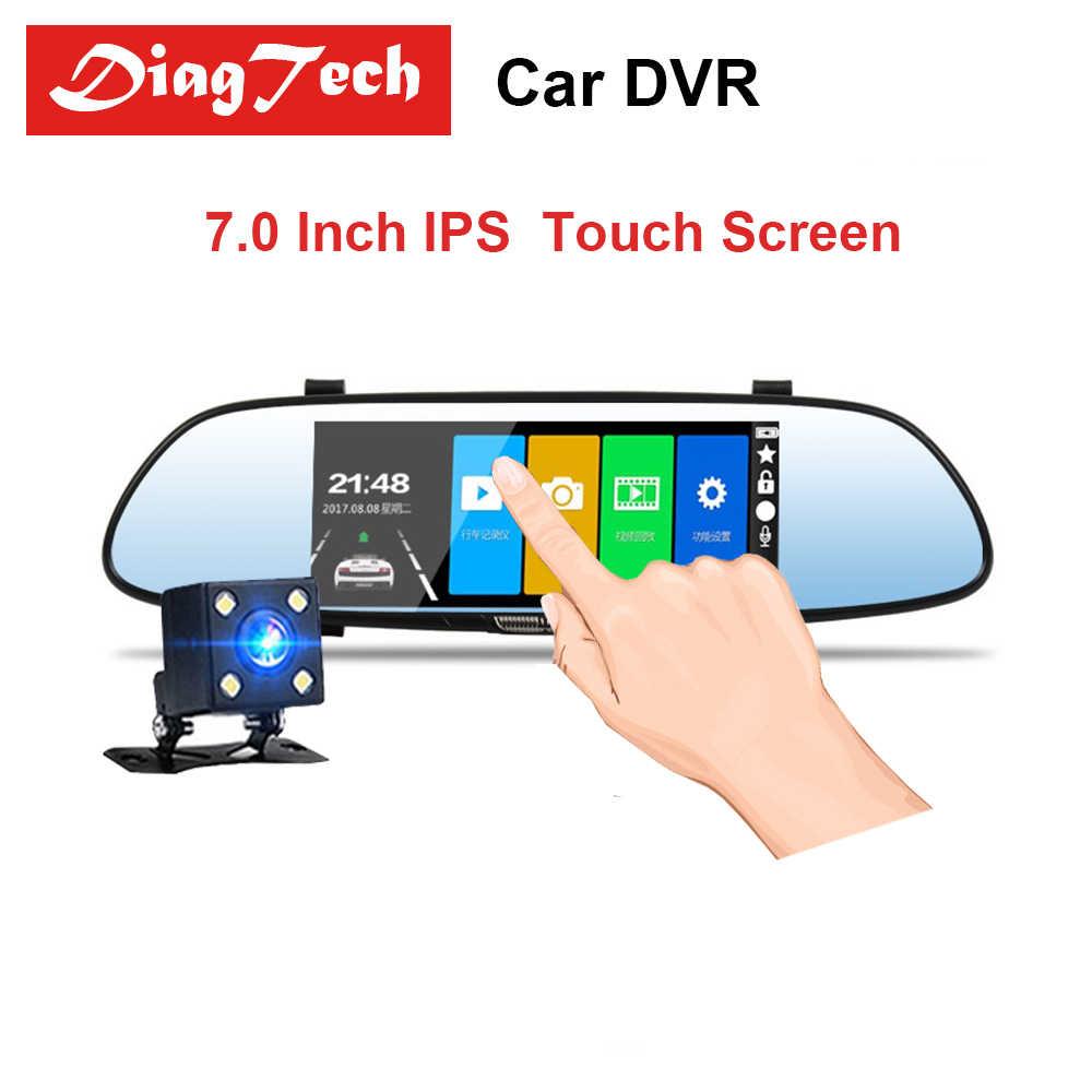 """7 """"Автомобильная dvr камера зеркало заднего вида ips сенсорный экран Авто DVR Full HD 1080P ночное видение видеорегистратор двойной объектив Авто Регистратор"""