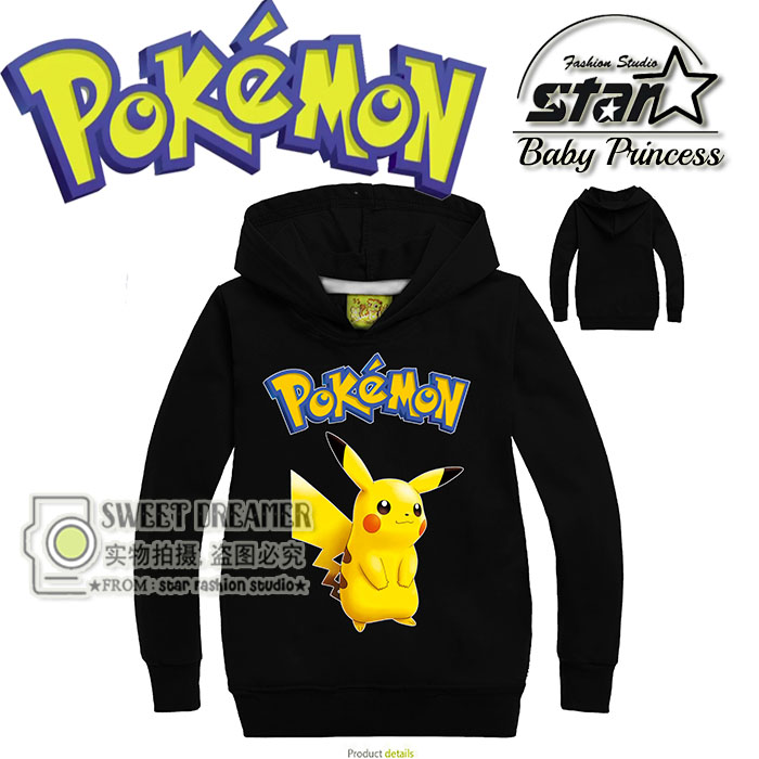 Kids Boys Hoodies Pokemon Go Clothes Children's Sweatshirts For Girl Boy Pikachu Kids Outwear Cartoon Tops Vestidos Costume