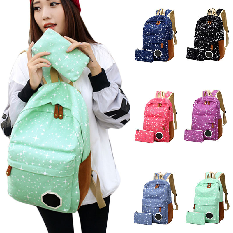2PCS Set Women School Bag Rucksack Canvas Cute Stars Printing For Teenage Girls WML99