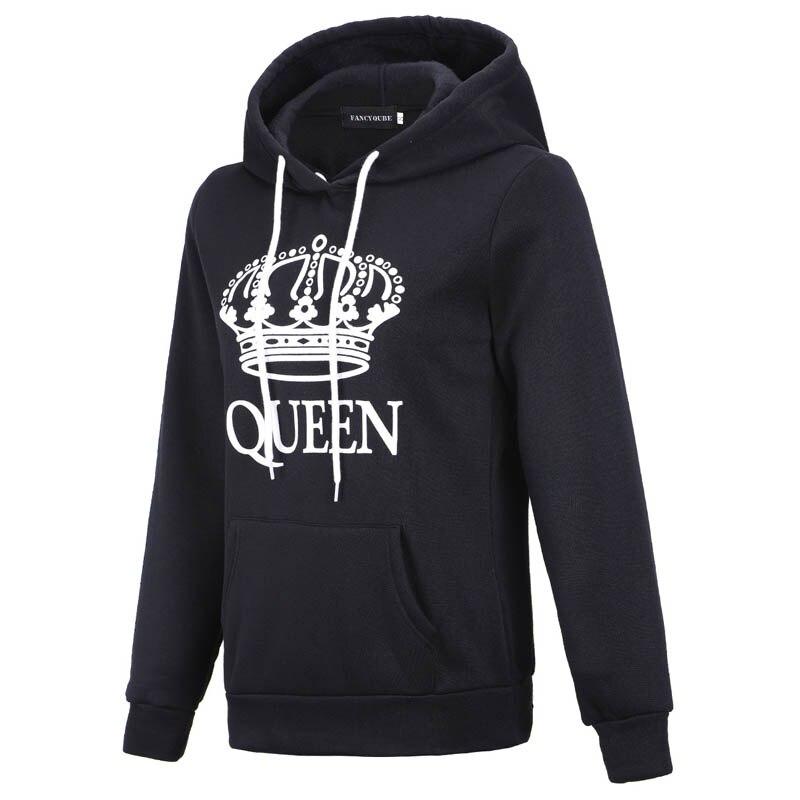 ZOGAA Men And Women Hoodies King Queen Printed Hooded Sweatshirt For Male Female Fashion Black Streetwear Couple Hoodies