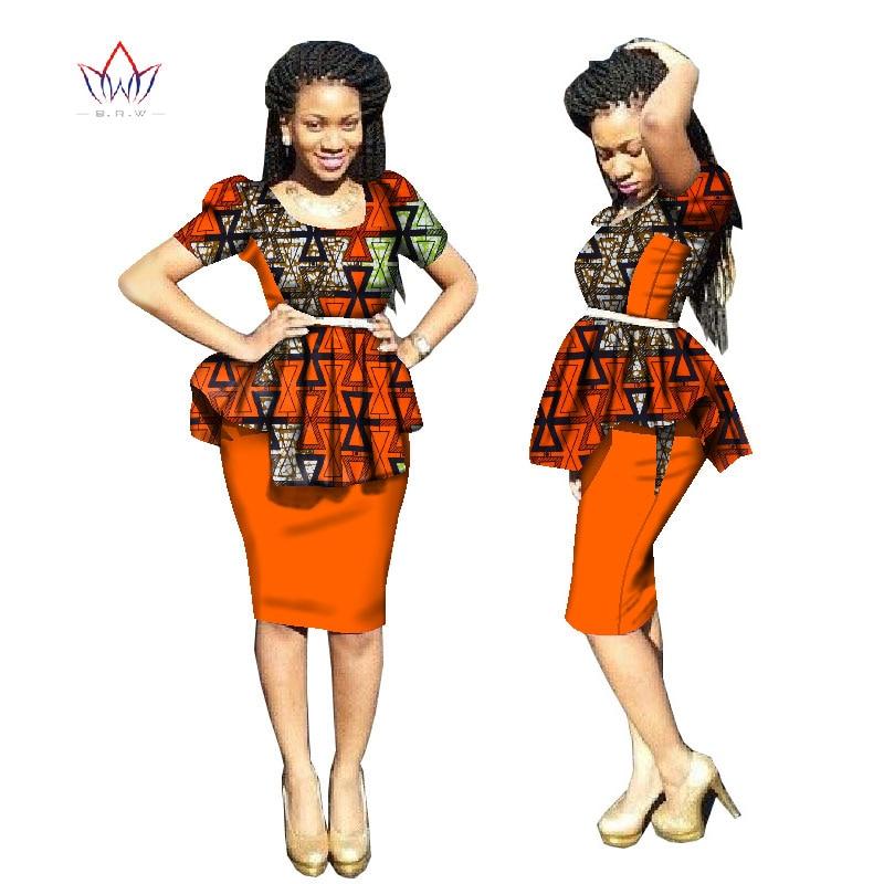 2018 Nykomlingar Traditionell afrikansk klänning Plus Storlek 2 Stycken Dashiki Kjol Set Bazin Rche Femme O-Stryk Kläder 5xl WY1814