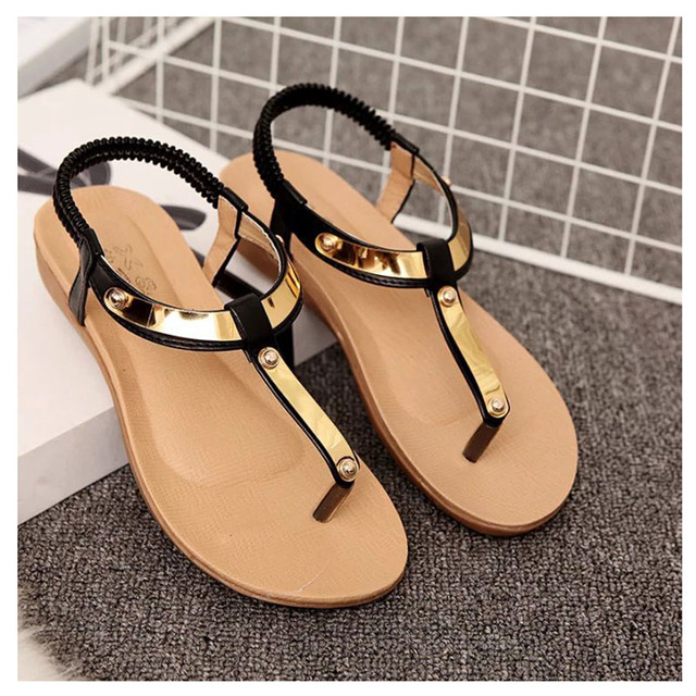 f3e49c66ca5 Beautiful Women Sandals 2017 Flat Sandals Women Summer Shoes Sequined Ladies  Sandals Black Sandale Femme Plus Size 41 42