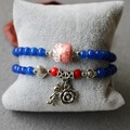 Trendy 6mm Blue Chalcedony Bracelet Rose Flowers Cat Pendant Female Jewelry Bracelet Multilayer Chain Necklace Natural Stone