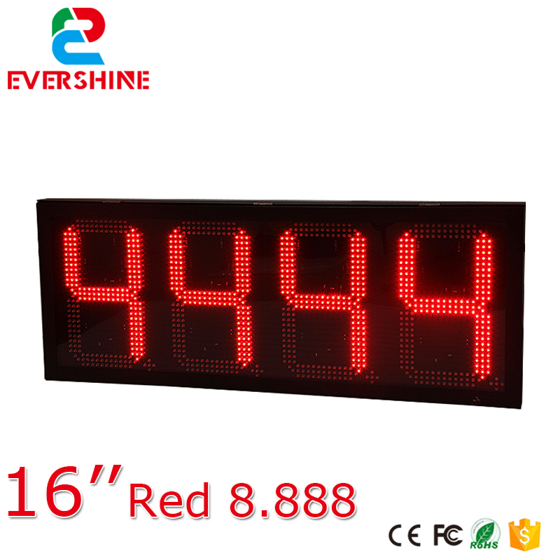 traffic message sign 16 inch red single color digital outdoor LED screen/display gas station price display