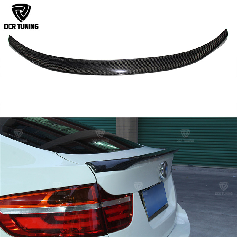 MP Style For BMW X6 E71 Spoiler Carbon Fiber Spoiler For X6 2008 2009 2010 2011 2012 2013 Rear Trunk Wings M Performance Spoiler car rear trunk security shield shade cargo cover for kia sportag 2007 2008 2009 2010 2011 2012 2013 black beige