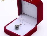 18 K золото 12,5 мм черный Таити Кулон ожерелье с бриллиантами 18 выбранный Южное море культивированный жемчуг ювелирные изделия AAA золото 18 K