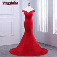 Off the Shoulder Red Mermaid Prom Dresses Women Long Train Flattered Fitted Satin Elegant Formal Party Gowns CG55