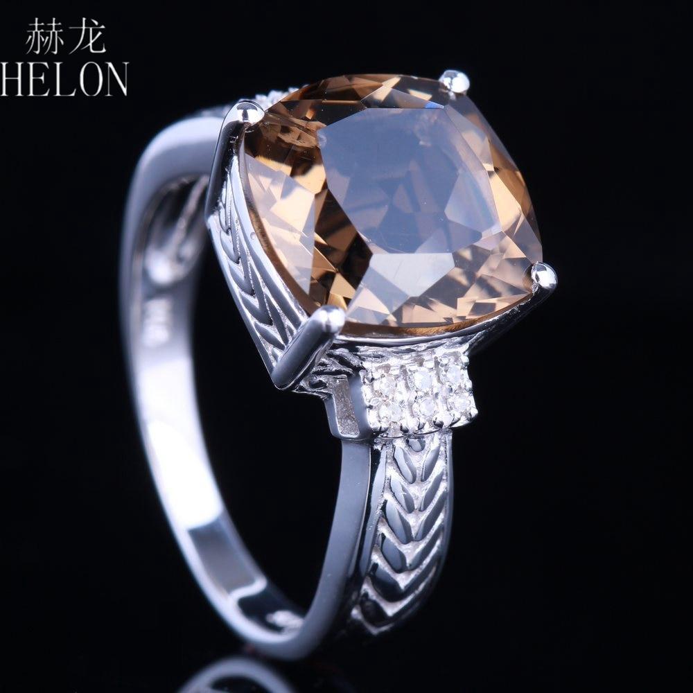 HELON Solid 10K White Gold 4.78ct Cushion Smokey Quartz Ring Diamonds Ring For Women Engagement Wedding Party Gift Fine Jewelry цена