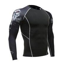 цена на Men's Sports T-Shirt Long Sleeve Gym Fitness T-Shirt Shirt Compression Fitness Wear Quick-drying Running T-Shirt