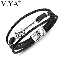 V.YA Fashion Guitar Men Bracelets Braided Black Leather Rope Multilayer Stainless Steel Jewelry Custom Engrave Valentine's Gifts