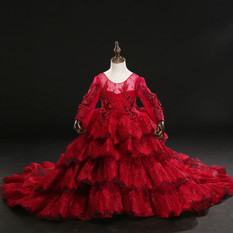 D-057 New Fashion High end Children girls long trailing dress Layered princess dresses Red Lace Fluffy DressD-057 New Fashion High end Children girls long trailing dress Layered princess dresses Red Lace Fluffy Dress