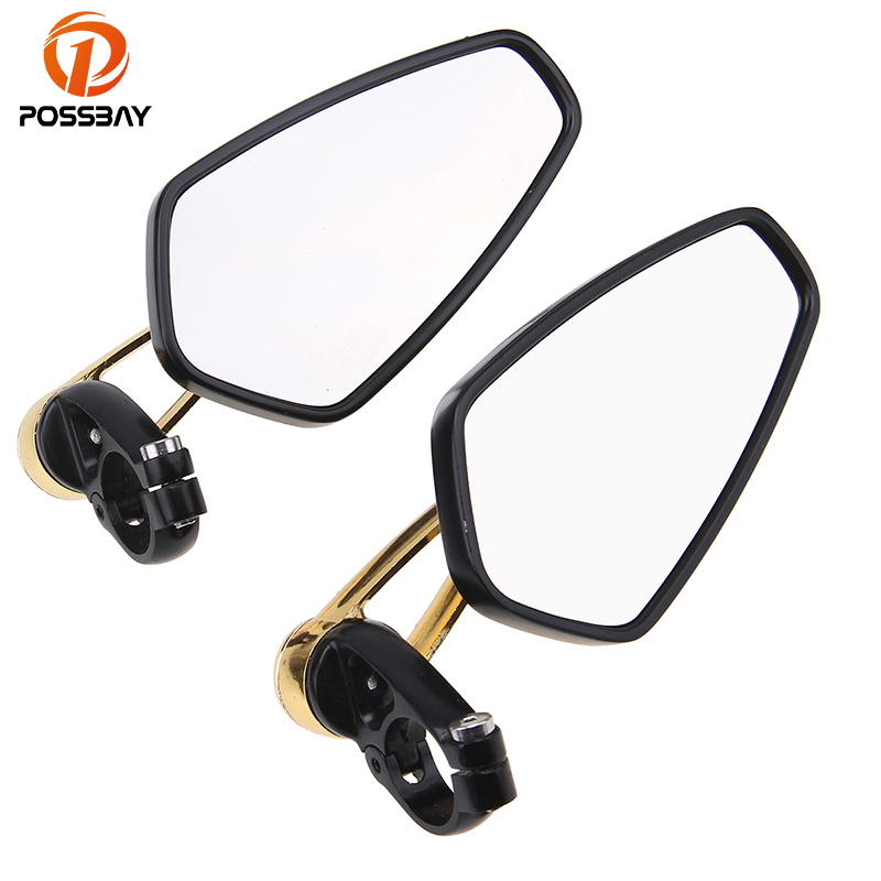 POSSBAY 7/822mm Aluminum Universal Motorcycle Side Mirrors Bar End Rearview Mirror for Harley Yamaha Cafe Racer Retrovisor Moto