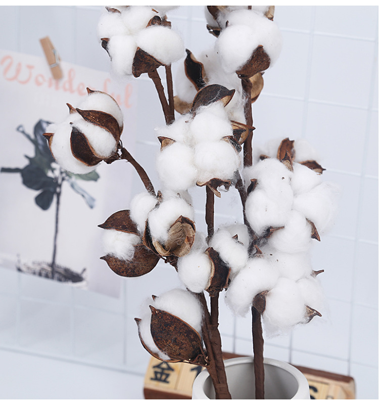 10 Head Dried Cotton Flower Artificial Plants Floral Branch For Wedding Party Decoration Fake Flowers Home Decor Faux Plants