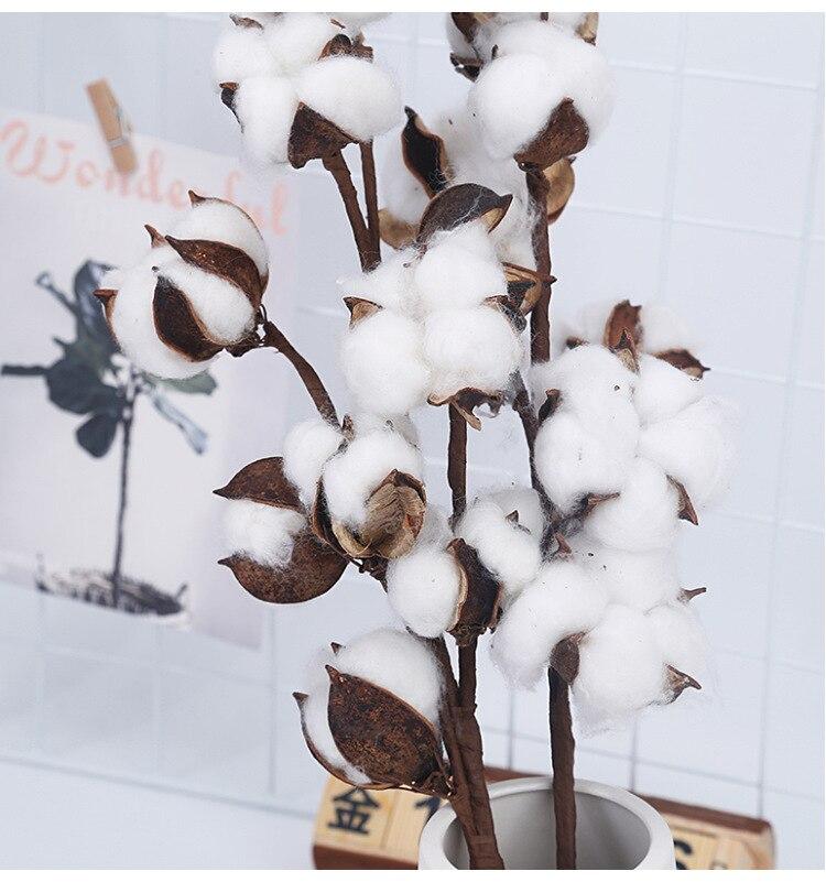 10 Head Dried Cotton Flower Artificial Plants Floral Branch For Wedding Party Decoration Fake Flowers Home Decor Faux Plants