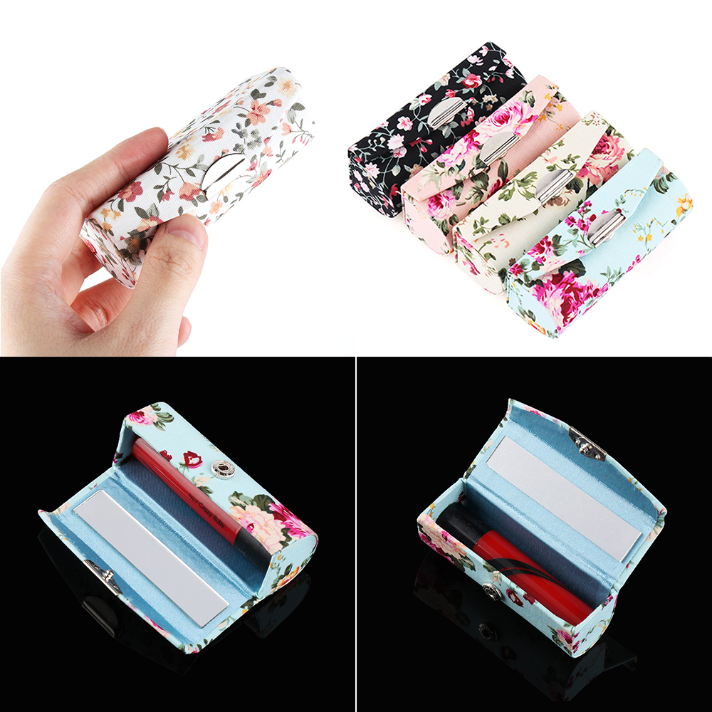 1PC Fashion Lipstick <font><b>Case</b></font> Retro Embroidered Flower Designs With Mirror Packaging Lip Gloss Box Jewelry Packaging Storage Box image