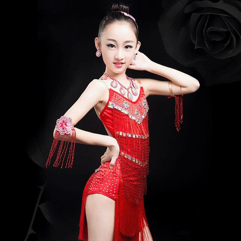 Latin Dance Dress For Girls Kids Dancewear Tassel Skirts Rumba Cha-Cha Samba Latin Stage Dance Costume Clothing Children DN1563