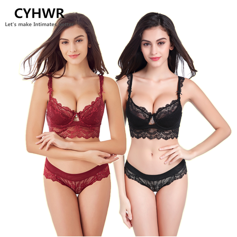 30c95b9932 CYHWR Sexy High-end Temptation Lingerie Lace Padded Bra Young Women Underwear  Push Up ABCD Bra Set 2 pieces of 1 pack