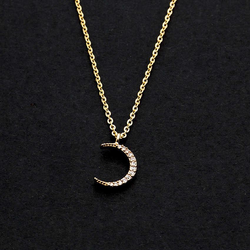Rosa oro plata Acero Inoxidable Joyeria Mujer Cadena de Acero Inoxidable cristal curvado luna creciente collar de declaración mujeres hombres