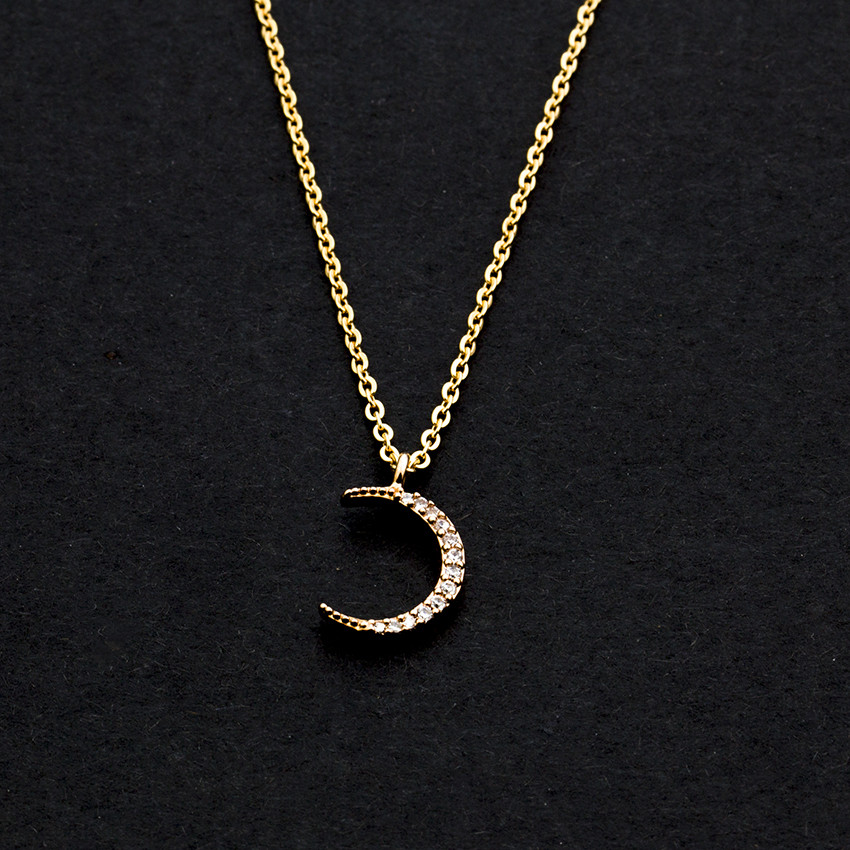 b41bc0587c403 US $1.54 30% OFF|Rose Gold Silver Acero Inoxidable Joyeria Mujer Stainless  Steel Chain Crystal Curved Crescent Moon Statement Necklace Women Men-in ...