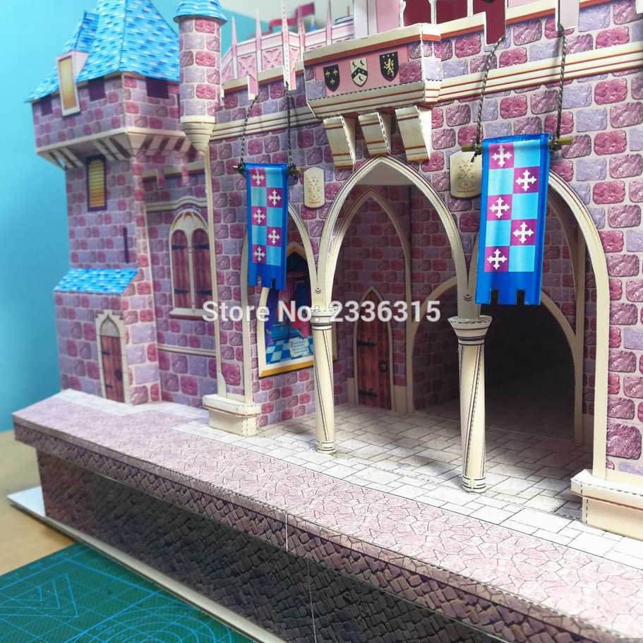 57 cm DIY śpiąca królewna zamek Papercraft 3D papieru modelu zabawki edukacyjne