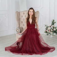 V Neck Tulle Convertible Bridesmaid Dress Custom Made Burgundy Maxi Boho Infinity Floor Length Sleeveless