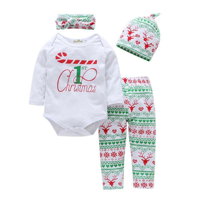 Christmas Style Newborn Infant Baby Boys Girls Clothing Set 4 PCS Full Sleeve Bodysuit One-piece Top Jumpsuit+Pants+Headband+Hat