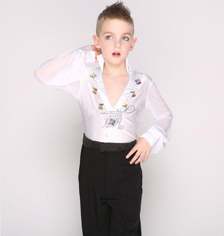 Bezmaksas piegāde 1 gab vīriešu latīņu deju tops Spandex Boys Ballroom Dance krekla acs piedurknes Sequins tops
