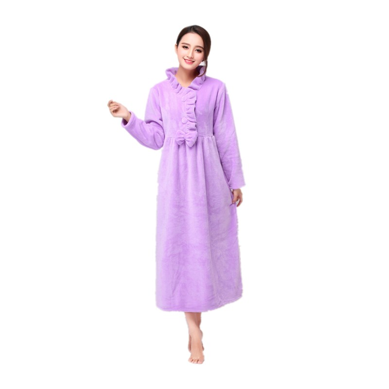 Autumn and winter ladies long Nightgowns Warm and luxurious flannel princess long sleeve plus size purple sleepwear nightdress