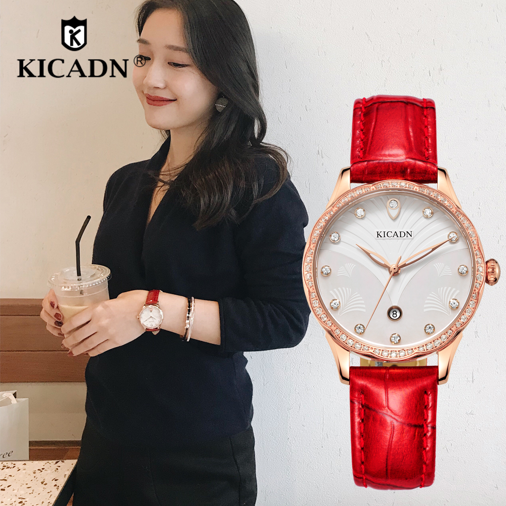 Stylish Fashion Women Watches Leather Strap Rhinestones Quartz Watch Ladies Bracelet Relogio Feminino KICADN Youngs Wrist Watch women s stylish zinc alloy rhinestones quartz analog bracelet watch black silver 1 x 377