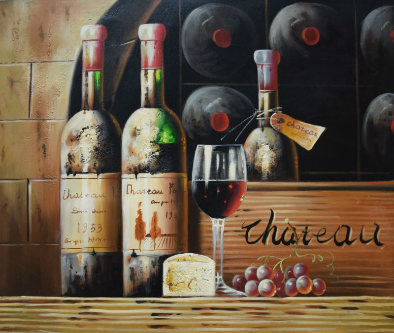 Hand Painted Still Life Oil Painting On Canvas Wine Bottle