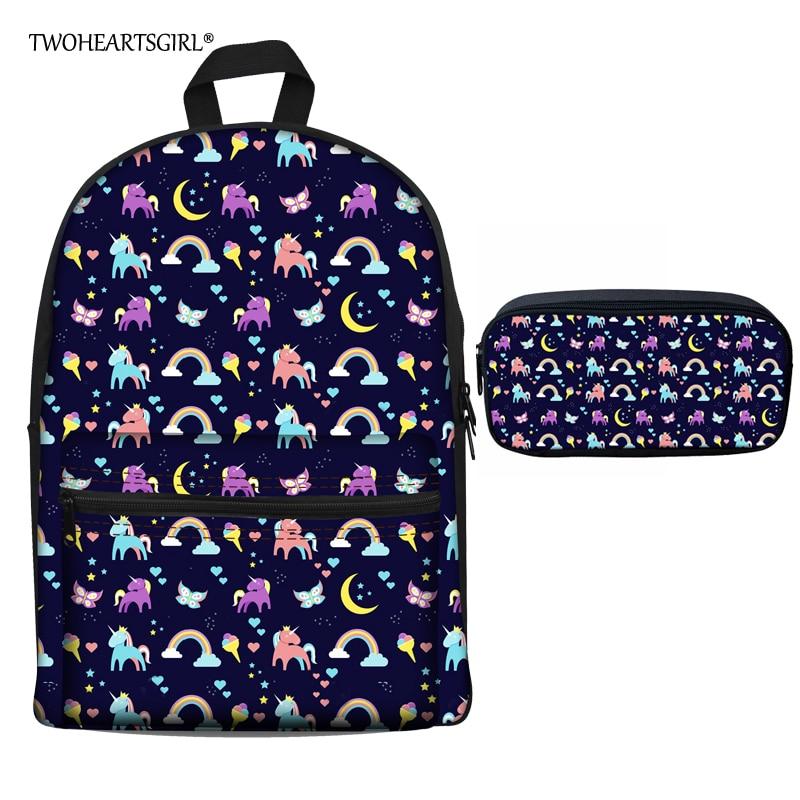 Twoheartsgirl Cartoon Unicorn Print School Bag for Teenager Girls Cute Children Kids Canvas Schoolbags Children Bookbags Mochila