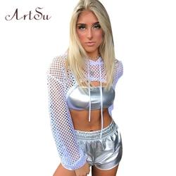 ArtSu Long Sleeve Tshirt Women Mesh Top Hooded Hollow Out Sexy Punk Rock Short Crop Top White T-shirt Fishnet Black ASTS20380 5