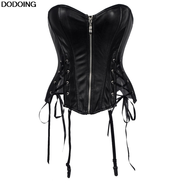 3b78c26725c94 Zipper Corset US And Europe Style Lace Up Ribbon Plastic Boned Bodysuit  Overbust Waist Sexy Coersets Black Slimming Weight Loss