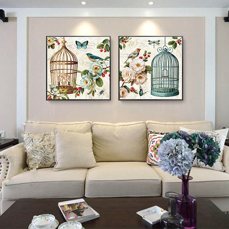 HAOCHU Vintage Flower Bird American Rural Oil Painting Canvas Fabric Wall  Poster For Living Room Decor Art Craft Wedding Favor In Painting U0026  Calligraphy ... Part 51