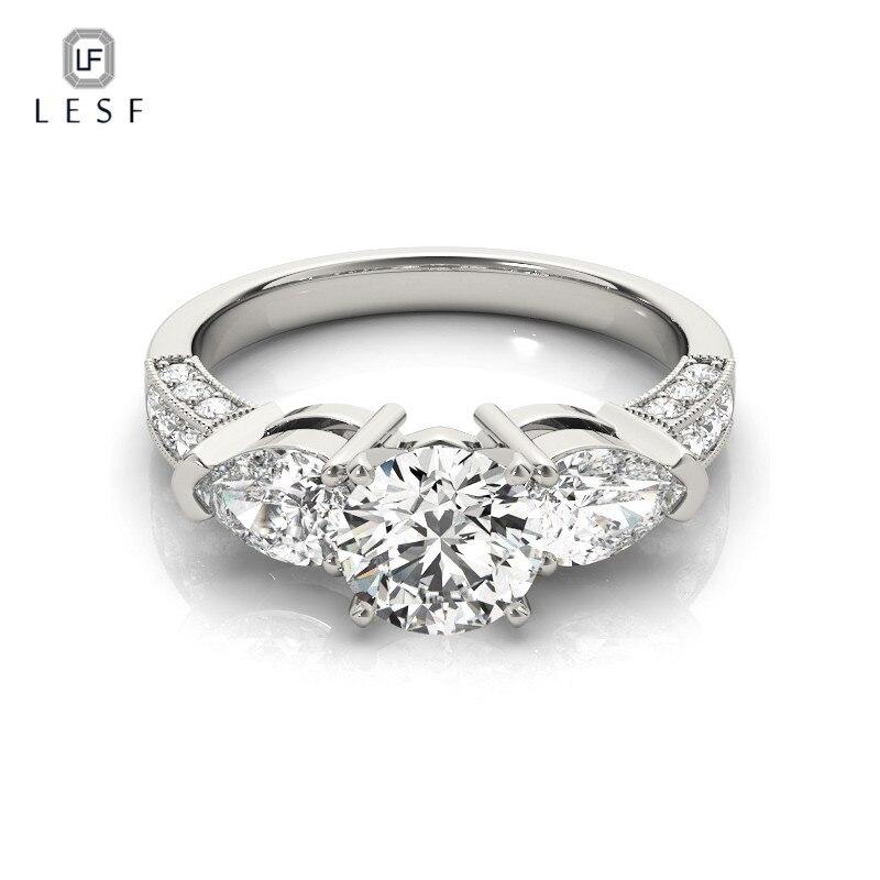 LESF bague de fiançailles éternité Super brillant Zircon cubique 925 en argent Sterling bagues de mariage pour les femmes bijoux en gros