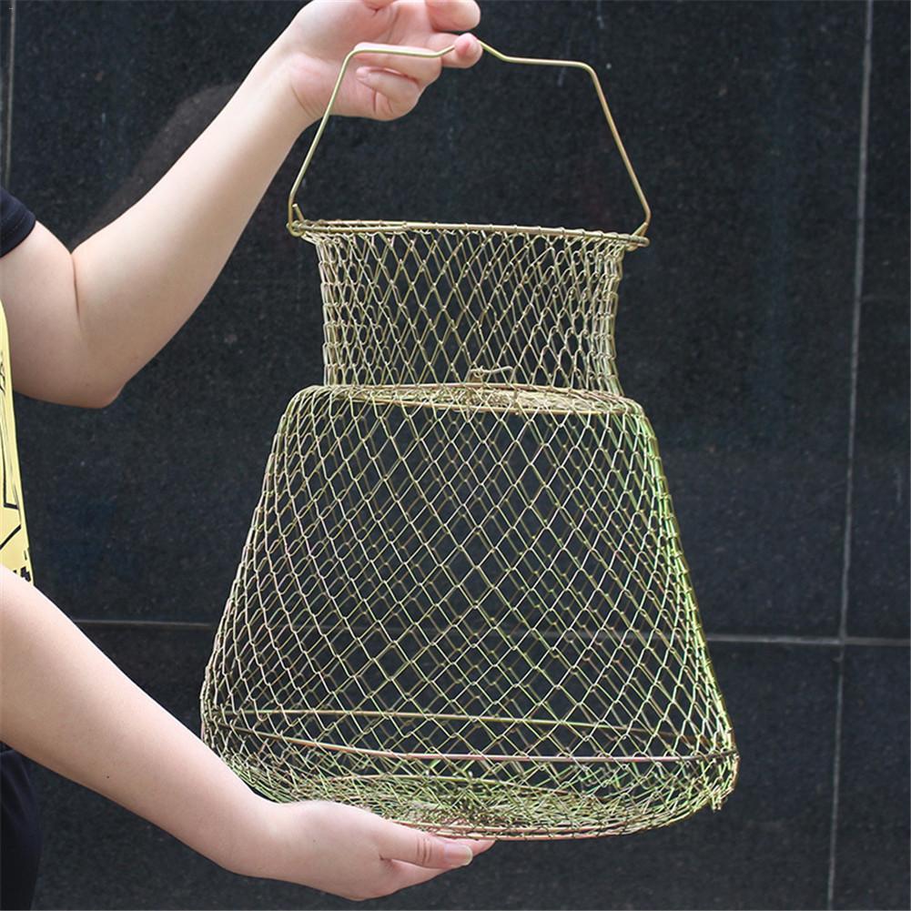 Portable 3 Sizes Anti-Hanging Folding Steel Wire Fishing Net Fish Shrimp Mesh Cage Fishing Trap Network цены