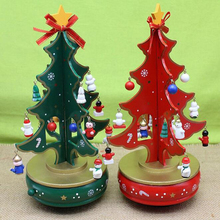 Hot Sale Colorful Christmas Tree Wooden Rotating Music Box Best Gifts For Friends Kids font b