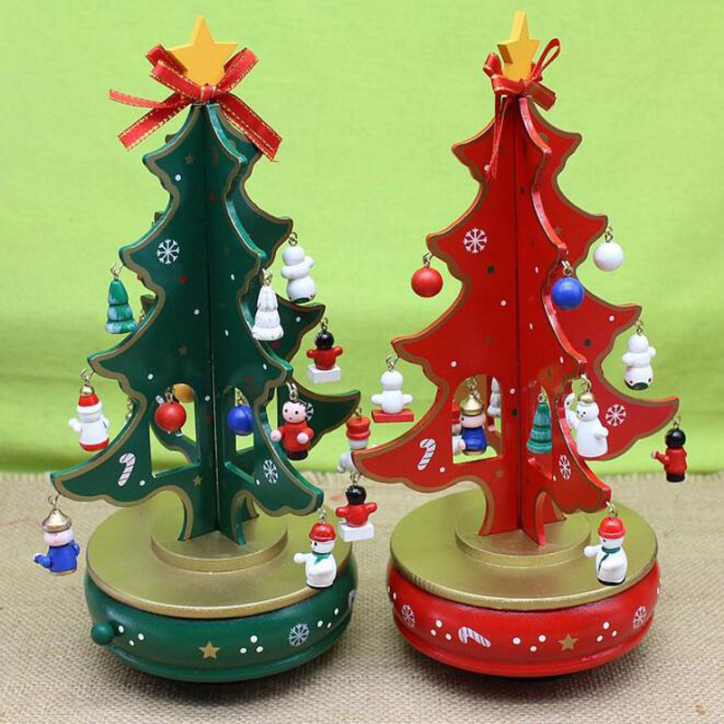 Hot Sale Colorful Christmas Tree Wooden Rotating <font><b>Music</b></font> Box Best Gifts For Friends Kids Home Decoration Free Shipping