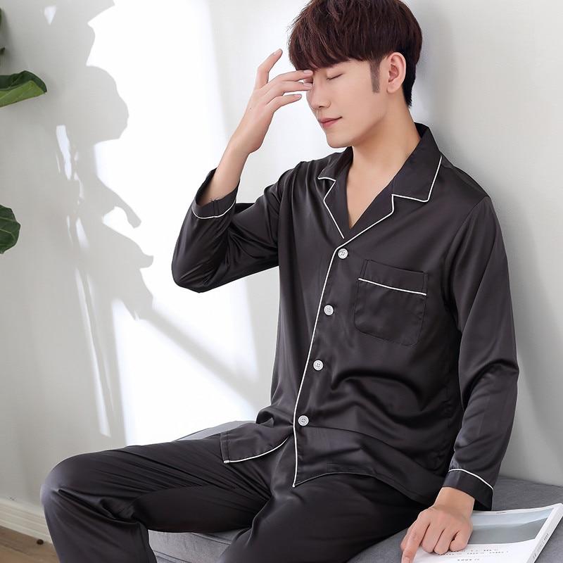 Thoshine Chinese Style Satin Silk Pajamas Sets Long Sleeve Men Turn Down Collar