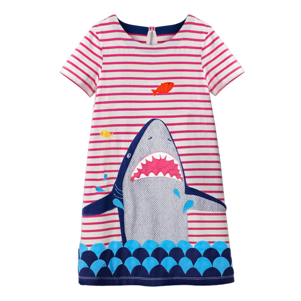 Littlemandy Shark Baby Girls Summer Enfant Princess Dress 2018 New Costumes for Kids Clothing Print Jersey Clothes Brand Dresses kids dresses for girls costumes 2017 brand girls summer dress ice cream print robe fille enfant princess dress children clothing