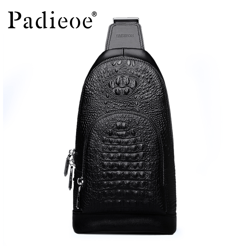 Padieoe new arrival mens messenger bags famous brand  crocodile grain genuine leather chest bag business men shoulder bag new casual business leather mens messenger bag hot sell famous brand design leather men bag vintage fashion mens cross body bag
