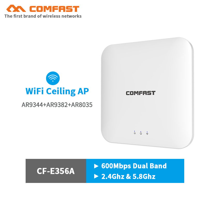 5Ghz Dual Band High Power Wireless Ceiling AP WiFi Router 600Mbps Range Expander Wireless Indoor Ap Gigabit RJ45 Port For Hotel