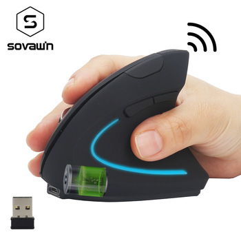 Sovawin Vertical Mouse Wireless Rechargeable USB PC Vertical Gaming Mouse Ergonomic Optical 1600 DPI 2.4Ghz For Video Game