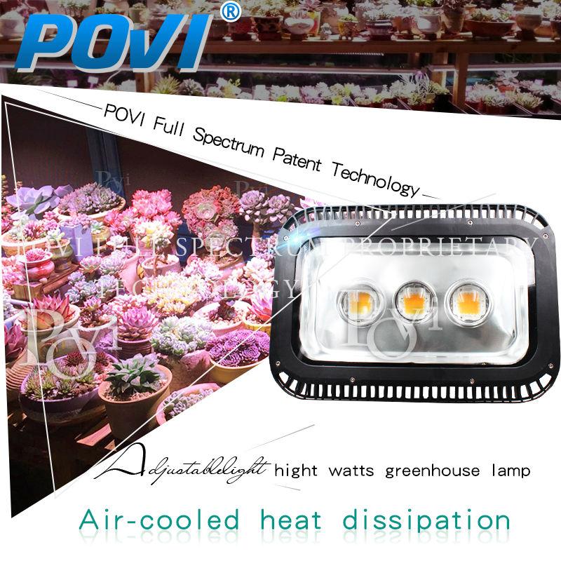POVI greenhouse project led grow light IP65 waterproof full spectrum led chip 150w 500w high PPFD illumination for greenhouse